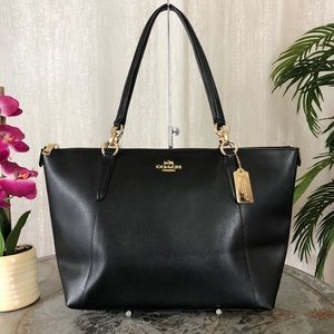 Coach Ava Zip Top Black Leather Large Tote F35808